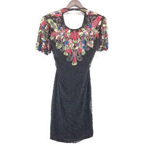 Vintage Silky Nites By Cherish Beaded Sequin Dress
